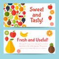 Fruits flat icon set. Colorful template for