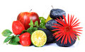 Fruits and flower decoration Royalty Free Stock Photo