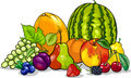 Fruits group cartoon illustration of food design Stock Photography