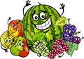 Fruits group cartoon illustration of funny food characters Royalty Free Stock Images