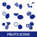 Fruits and half fruits icons eps10 Royalty Free Stock Photo