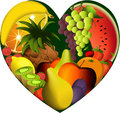 Fruits in heart shape Stock Photo