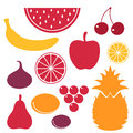 Fruits icon set isolated objects on white background vector illustration eps Stock Image