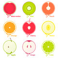 Fruits icons elements Royalty Free Stock Photos