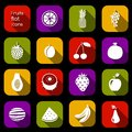 Fruits icons flat Royalty Free Stock Photo