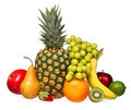 Fruits isolated on white assorted tropical fresh fruits pineapple kiwi grapes banana apple mango pear strawberry and lime Stock Images