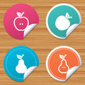 Fruits with leaf icons. Apple and Pear. Royalty Free Stock Photo
