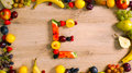 Fruits made letter E