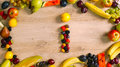 Fruits made letter I