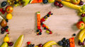 Fruits made letter K