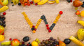 Fruits made letter W