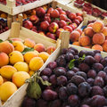 Fruits on the market summer fresh in boxes Royalty Free Stock Photos