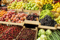 Fruits on the market various fresh in boxes Royalty Free Stock Photos