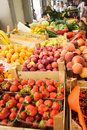 Fruits on the market various fresh in boxes Stock Image