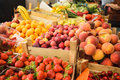 Fruits on the market various fresh in boxes Royalty Free Stock Images