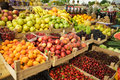 Fruits on the market various fresh in boxes Stock Photos