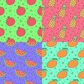 Fruits multicolored outline seamless vector pattern set (garnet, pineapple, watermelon, mango). Part one. Royalty Free Stock Photo