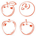 Fruits, outline apples Stock Photo