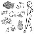 Fruits outline sketches with nice healty girl vector artwork Stock Photos