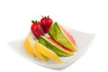 Fruits on a plate Stock Image