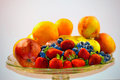 Fruits on plate picture bunch of web background Stock Photography