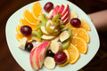 Fruits plate with sliced ​​fruits beautifully laid out Stock Photo
