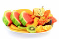 Fruits platter served as breakfast. Stock Photo