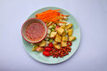 Fruits salad on the plate and syrup Royalty Free Stock Photos