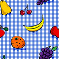 Fruits sales sans joint au-dessus de configuration bleue de guingan Photo stock