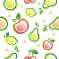 Fruits seamless background over white Stock Photos