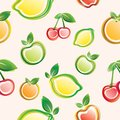 Fruits seamless background pattern on the pink Royalty Free Stock Photos