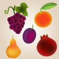 Fruits set collection ripe realistic icons Royalty Free Stock Photography