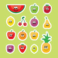 Fruits set colored fruit collection on green background Royalty Free Stock Images