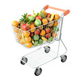 Fruits in a shopping cart. Royalty Free Stock Photo