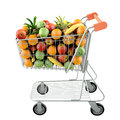 Fruits in a shopping cart. Royalty Free Stock Photos