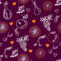 Fruits sketches seamless pattern Stock Photos