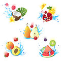 Fruits in splashes fresh juicy falling water Royalty Free Stock Photo