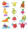 Fruits sportsman vector fruity expression of sporting cartoon character workout doing fitness exercises illustration set Royalty Free Stock Photo