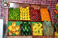 Fruits stall closeup shot on with wall display Royalty Free Stock Photos