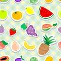 Fruits Stickers Seamless pattern
