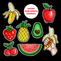 Fruits stickers vector embroidery