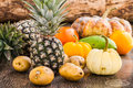 Fruits still life of on wooden background Stock Images