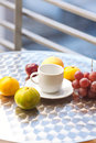 Fruits and tea on the table Royalty Free Stock Photos