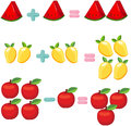 Fruits to learn mathematics Royalty Free Stock Image
