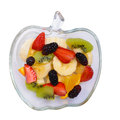 Fruits on tray mix of and berries in transparent isolated white Stock Photos