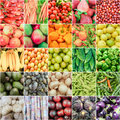 Fruits and vegetable summer rainbow collage Stock Photos