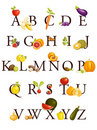 Fruits and vegetables  alphabet Royalty Free Stock Image