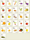 Fruits and vegetables  alphabet cards Royalty Free Stock Images
