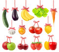 Fruits and vegetables as christmas decoration isolated on white Stock Photography