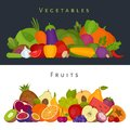 Fruits and vegetables banner. Healthy food. Flat style, vector i Royalty Free Stock Photo